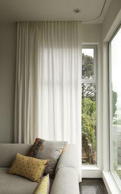 Modern curtains on recessed track modern window treatments - TallWindows - Loft Windows