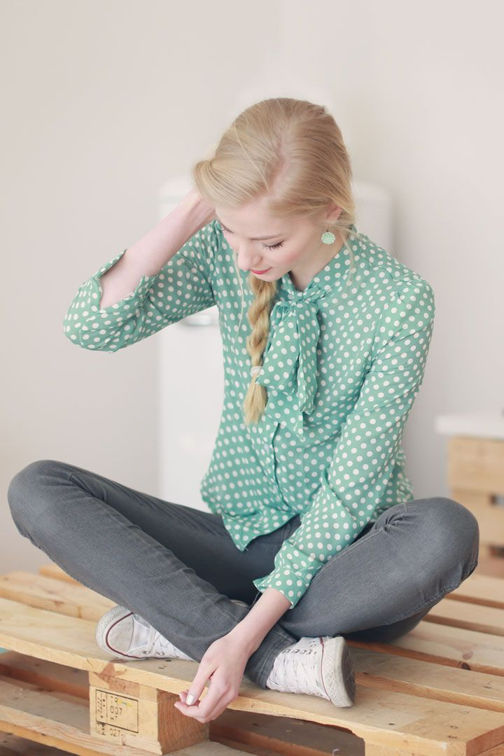 Polka dot shirt mint! I so want this shirt. any ideas where to find it.