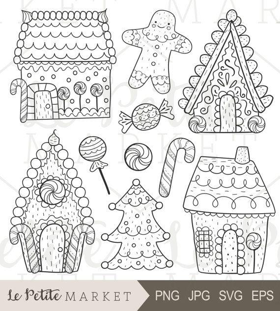Hand Drawn Gingerbread Clip Art Gingerbread House Clip