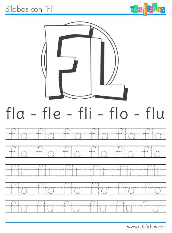 Ficha para aprender la FL http://www.edufichas.com/actividades/lectoescritura/silabas/silabas-con-f-fl-y-fr/ #letras #aprender #fichas #worksheet #infantil