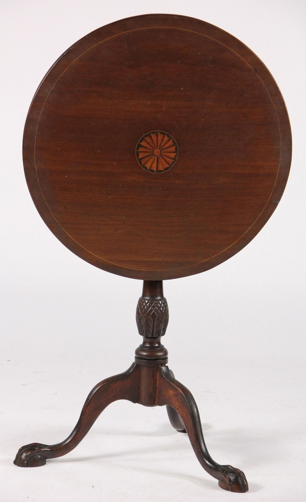 Charming Antique Inlaid Tilt Top Tea Table
