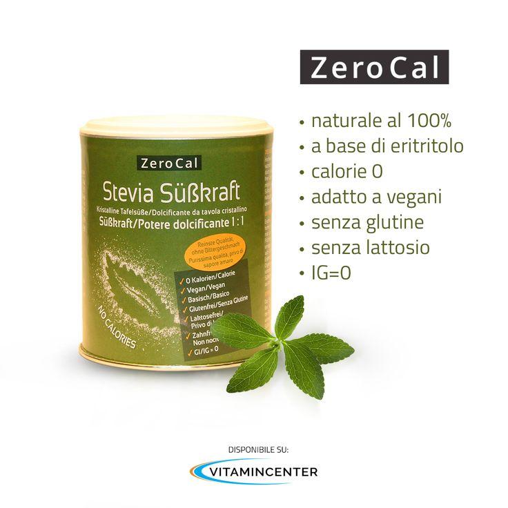 ZeroCal è un cristallino sostituto dello zucchero e per grado di dolcificazione, gusto e le possibilità di lavorazione, ha le stesse caratteristiche dello zucchero raffinato tradizionale. Disponibile anche nella formulazione con Stevia! Dolcifica in modo naturale e prova Zerocal! http://www.vitamincenter.it/stevia-1-1-200-g.html
