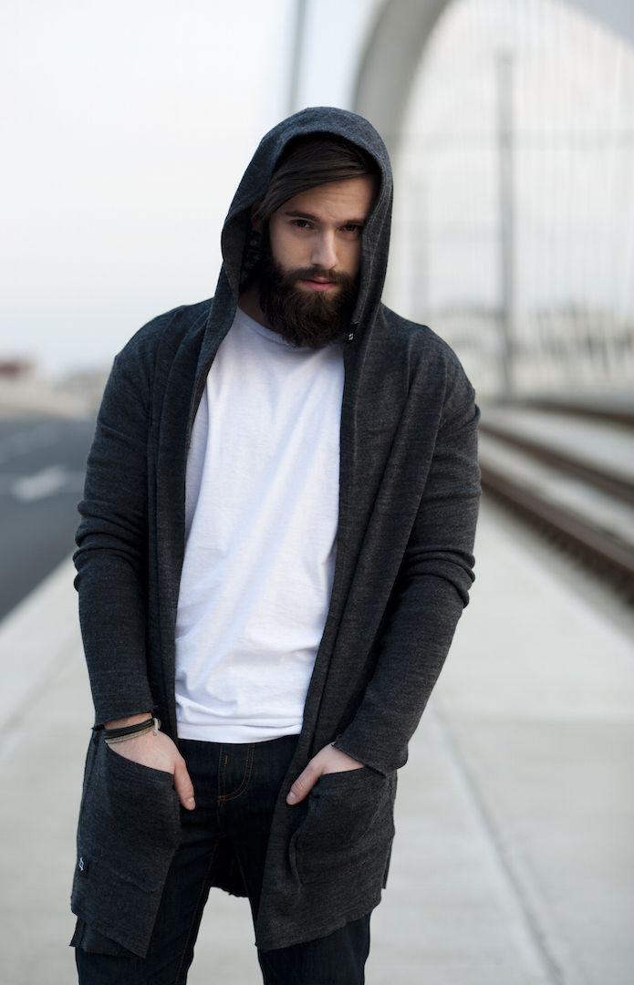 Fern - pánský extra dlouhý svetr s kapucí