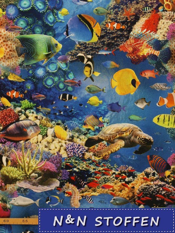 Bedrukte stof digitale print koraal rif