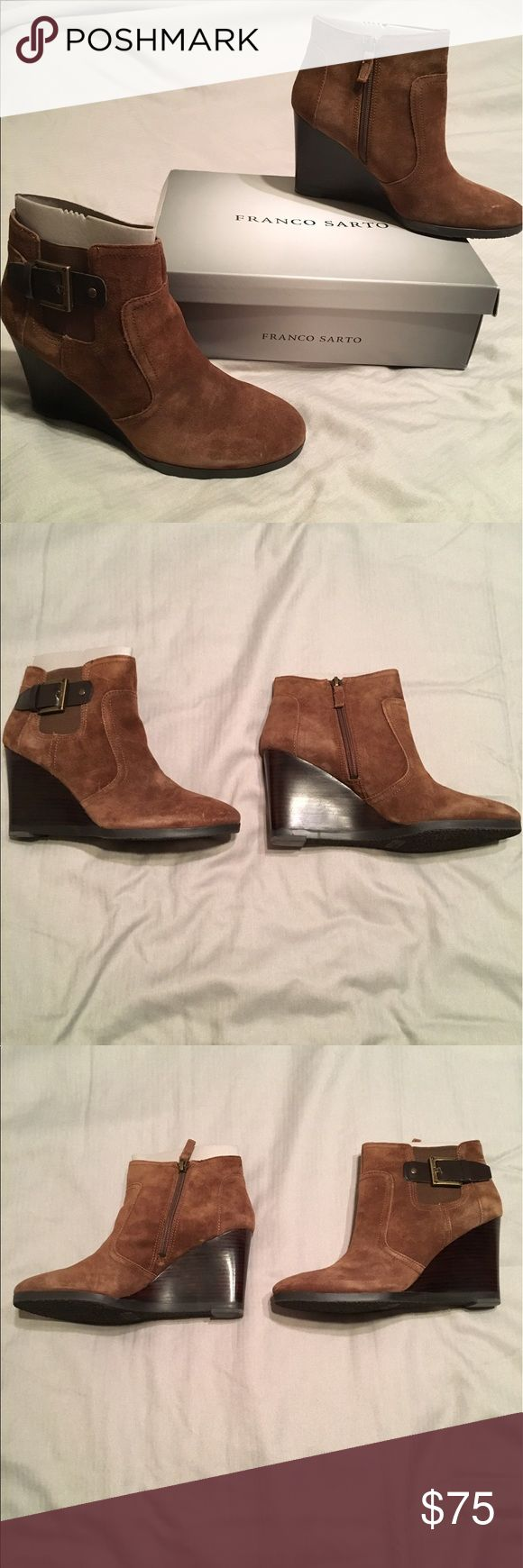 New Franco Sarto brown wedge boots New Franco Sarto brown suede wedge boots. Size 9 1/2. Still in box. A few light scratches (shown in pictures). Franco Sarto Shoes Ankle Boots & Booties
