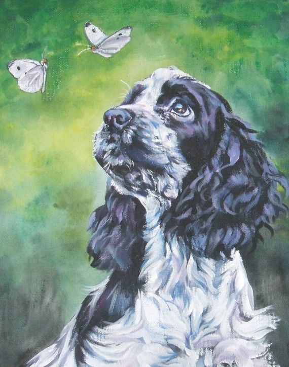 English Cocker Spaniel CANVAS art print of LA by TheDogLover, $39.99