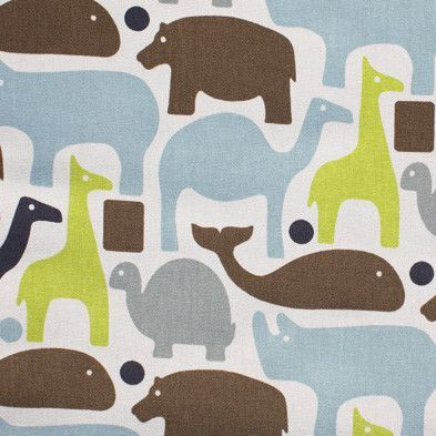 A fun kids fabric with zoo animalsincocoa brown, grey, navy blue, lime green, sky blue on awhite background.Perfect for curtains, drapery, roman blinds, som
