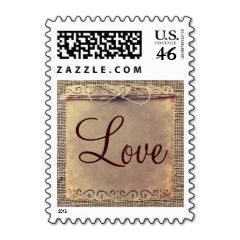 Rustic Country Vintage Burlap Wedding Stamps | Wedding Postage Stamps