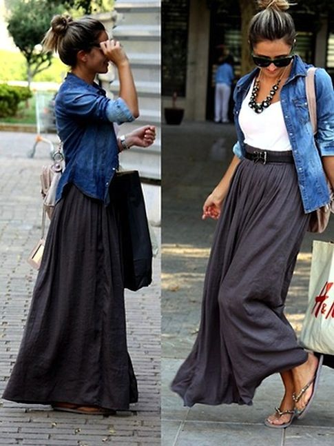 Chambray shirt over white cami, gray maxi, flip flops, black belt with large shopper bag and chunky beads