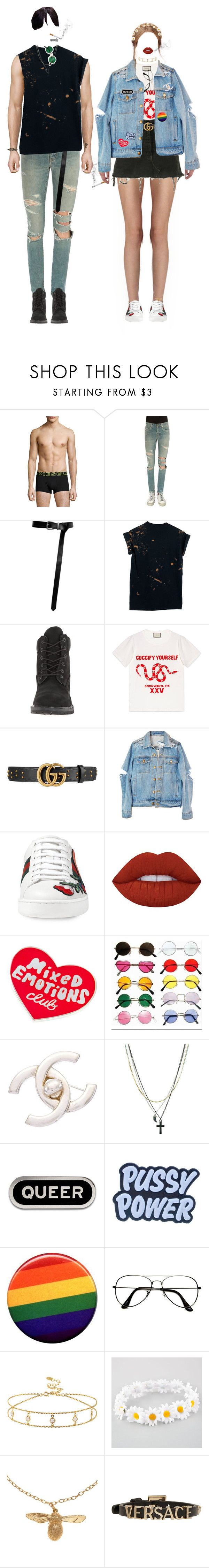 """-bf / gf look at a festival"" by salt-sugar ❤ liked on Polyvore featuring Diesel, Yves Saint Laurent, Timberland, Gucci, Levi's, High Heels Suicide, Lime Crime, Tuesday Bassen, Chanel and ASOS"