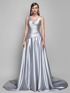 Formal Evening Dress - Silver Plus Sizes A-line V-neck Sweep/Brush Train Satin Chiffon - USD $129.99