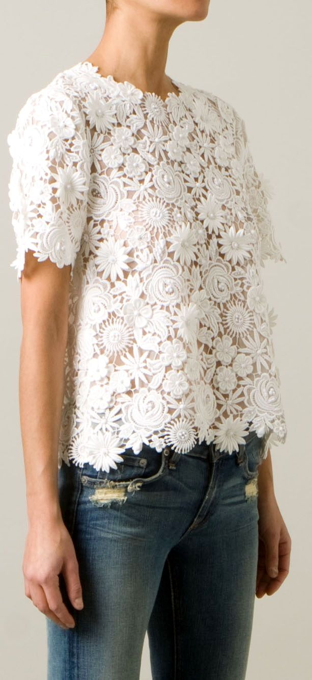 Valentino lace top, distressed jeans