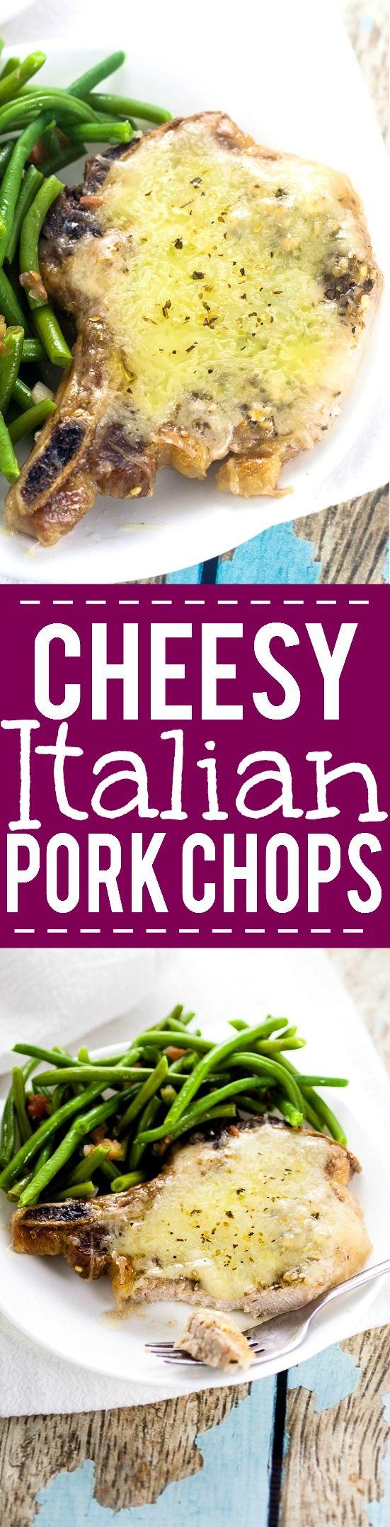 Cheesy Italian Pork Chops Recipe -Juicy, flavorful pork chops, baked in…