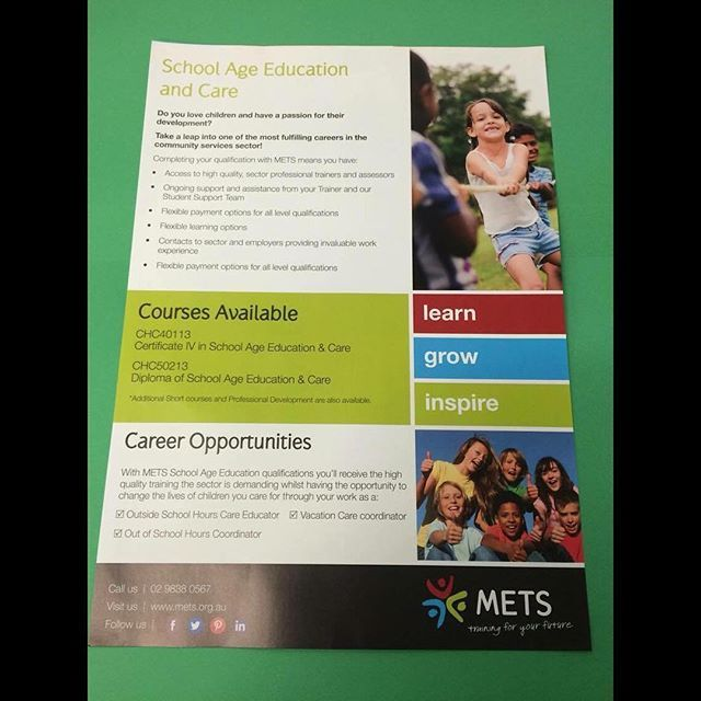 Do you love children and have a passion for their development?  Well METS can help!!! You can work and study at the same time! > If you think you have what it takes to experience this great career opportunity then don't hold back, visit our website: www.mets.org.au or give us a call on: 9838 0567 <  #yourfuture #getstudying #learning #training #onthejobexperience #greatopportunities #yourlife #yourchoice #learn #grow #inspire #dontholdback #METS