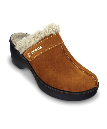 Take a look at this Chestnut & Black Leather Cobbler Clog - Women by Crocs on #zulily today! $29.99