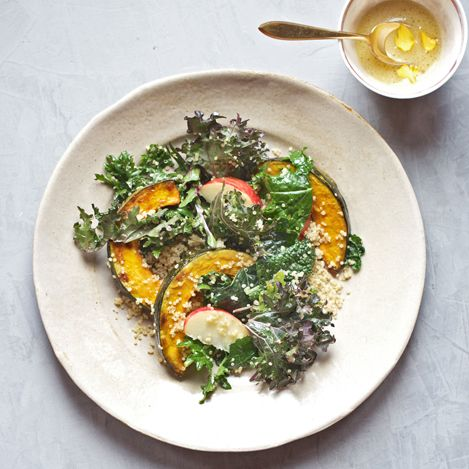 Ingredients: 1 kabocha squash, halved, quartered and thinly sliced into 1⁄2-inch moons 2 tablespoons extra-virgin olive oil 1⁄4 teaspoon sea salt 1 1⁄2 cups cooked quinoa 2 cups curly kale leaves, tough stems removed, finely chopped 1 Honeycrisp or Fuji apple, cored and sliced into 3⁄4-inch pieces 1⁄4 cup raw pepitas 1⁄4 cup plus 2 tablespoons Apple Cider Vinaigrette