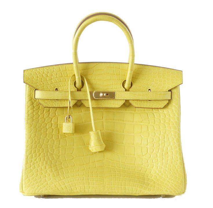 Hermes Birkin Bag 35cm Matte Yellow Mimosa Alligator Gold Hardware ...