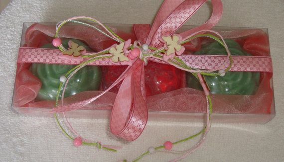 Pink Handmade Gift Set very nice decorated by ribbons with pink butterflies containing 3 small flowers Scented Luxury Soaps - two Green, Fig scent and one Pink, rose scent.  The perfect gift for Graduation, a very elegant, stylish gift for any occasion: Father Day, Mother Day, Anniversary, Feast, Engagement, Birthday, Congratulation, any Celebration, any Ceremony, Party… you name it!   An unusual gift idea for him, for her, for family, for friends!