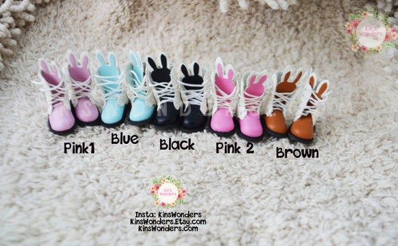 Blythe Doll Bunny Style Rabbit Ear Shoes 1/6 Dolls, Pullip, BJD, Azone Jerryberry, Momoko Clothing Accessories Boots 3.2cm Laces Tie up