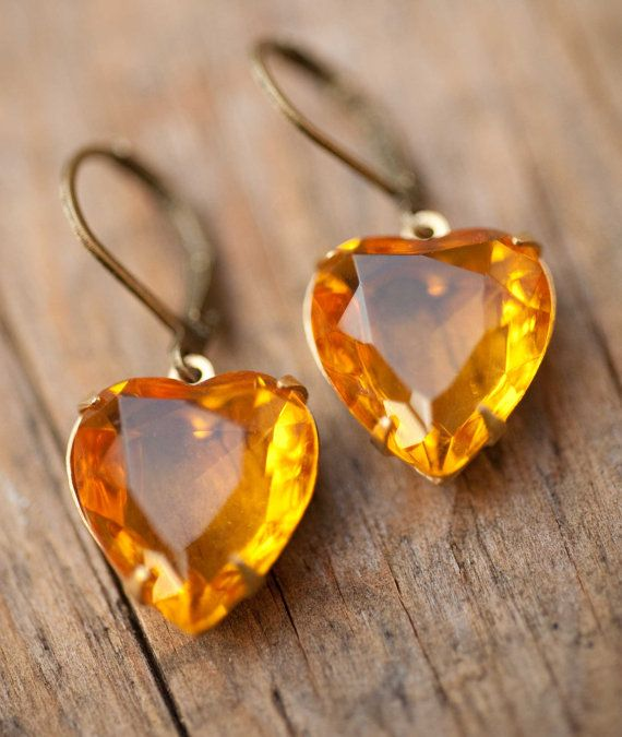 Topaz amber heart earrings estate style vintage by NotOneSparrow