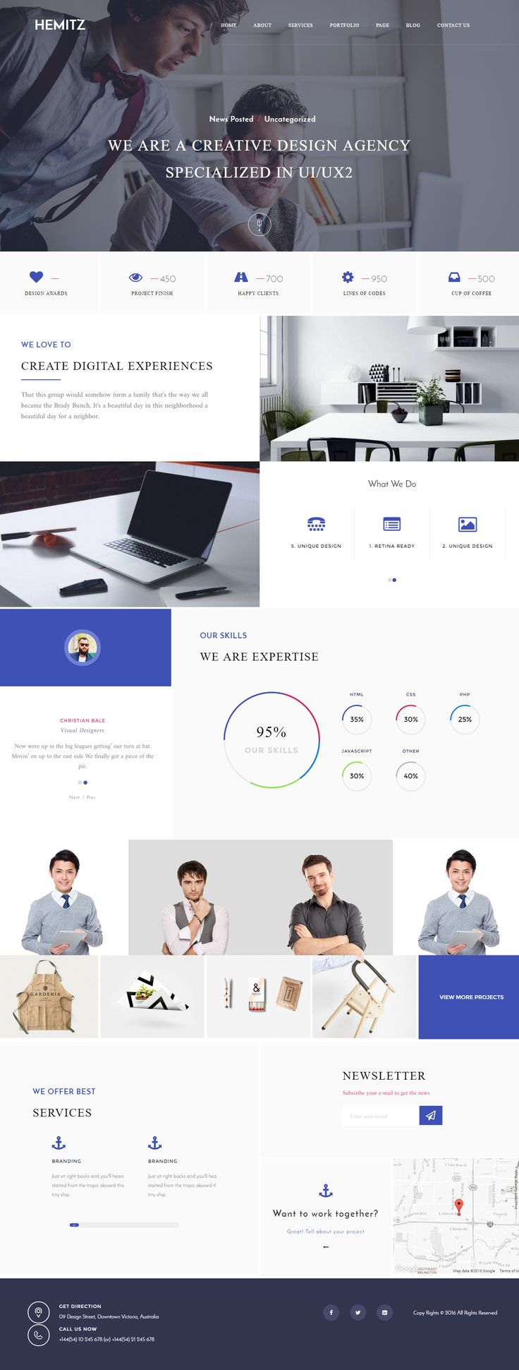 Hemitz is modern, clean and elegant portfolio WordPress Theme. It can be used for creative agencies to show porfolio and projects. You can builder portfolio website using Hemitz WordPress theme. It has a lot of customization options, comes with number of shortcodes. It comes with Visual Composer page builde