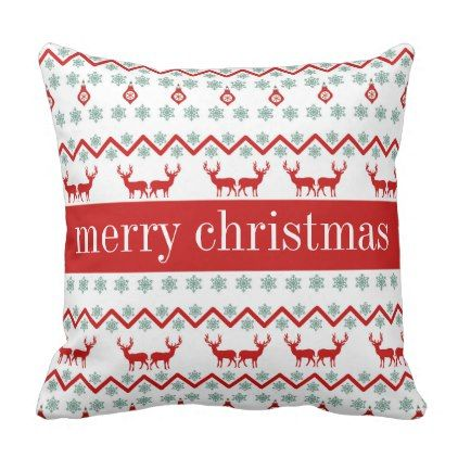 Happy Holidays | Christmas Reindeer Chevron Throw Pillow - diy cyo customize create your own #personalize