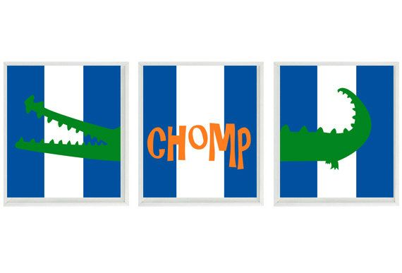 Florida Gators Wall Art Prints (3) 8x10 - Blue Orange Green Gator Decor Chomp Nursery - Children Kid Baby University of Florida - Home Decor