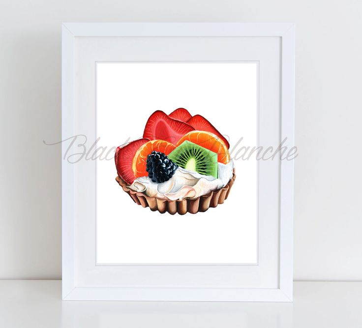 Fruit Tart Art Print, Dessert Illustration, Fruits, Strawberries, Kiwi, Berry, Oranges, Fruit Pie, Summer, Food Illustration, Afternoon Tea by BlackEnBlanche on Etsy