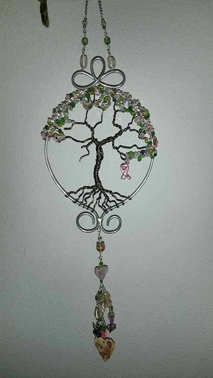 Wire wrapped beaded tree of life sun catcher breast cancer for Breastmilk jewelry tree of life