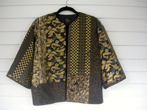 Black/Blue/Gold Kimono Jacket by crazyquilter on Etsy, $198.00