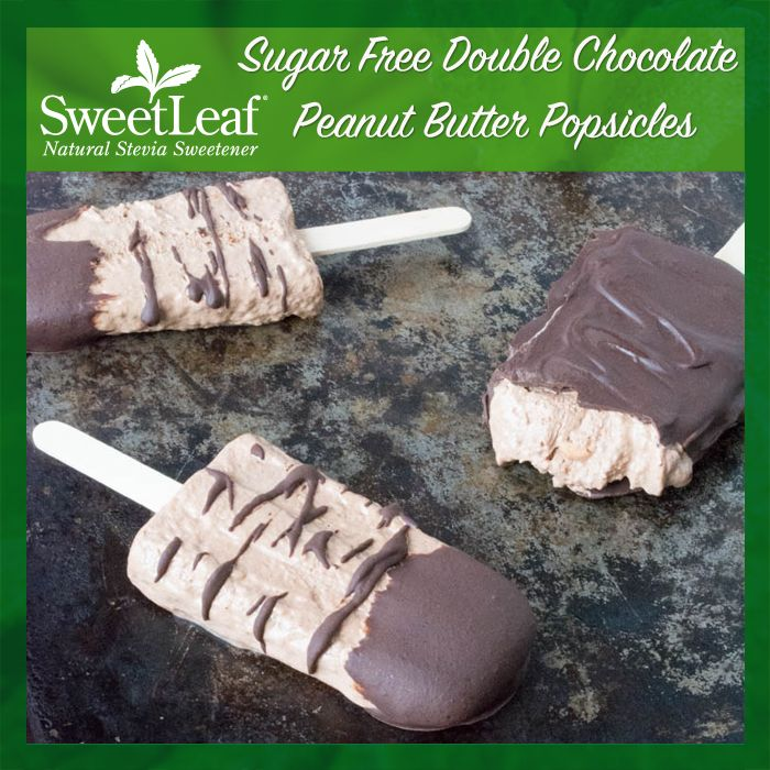 Peanut Butter can still be part of your list of frozen treats on a stick. @sugarfreemom made another perfect sugar-free recipe filled with chocolate and yummy peanut butter and SweetLeaf Double Chocolate SweetDrops. | #sugarfree