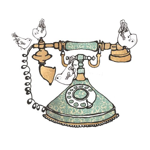 Vintage telephone and birds illustrationVintage Telephone Illustration