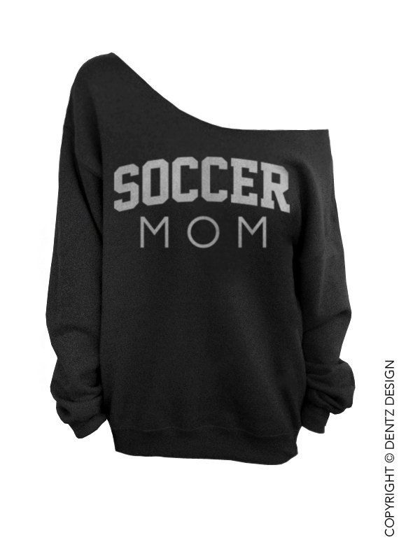 Soccer Mom - Black with Silver Slouchy Oversized Sweatshirt by DentzDesign #dentzdesign Use coupon code PINTEREST for discount!