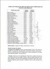 Tabela de preços de mão de obra para confecção de roupas sob medida.