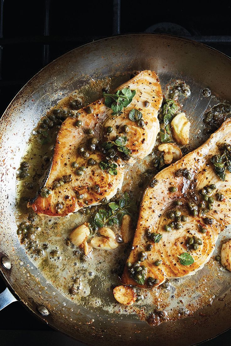 Get this recipe for swordfish-like steak with crispy capers from Alison Roman's recently released cookbook, Dining In <https://www.amazon.com/Dining-Cookable-Recipes-Alison-Roman/dp/045149699X/ref=sr_1_1?ie=UTF8&qid=1512683827&sr=8-1&keywords=dining+in> .