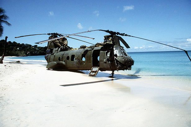 Bird of paradise. A Sea Knight Helicopter, Raging Bulls, shot down during the invasion of Grenada, October 1983.