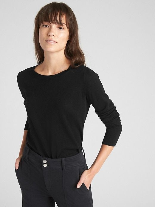 Gap Women s Crewneck Pullover Sweater In Merino Wool True Black ... 99db266af