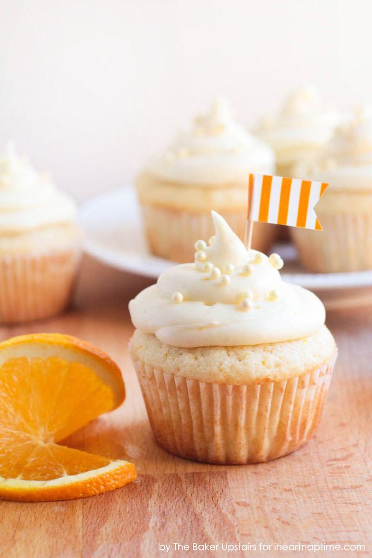 Orange Cream Cupcakes by The Baker Upstairs on iheartnaptime.com