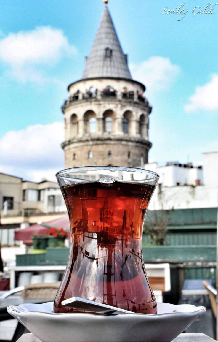 Reflection of the Galata Tower in the turkish tea © Sevilay Çelik  (via Facebook - Photography TÜRKİYE)