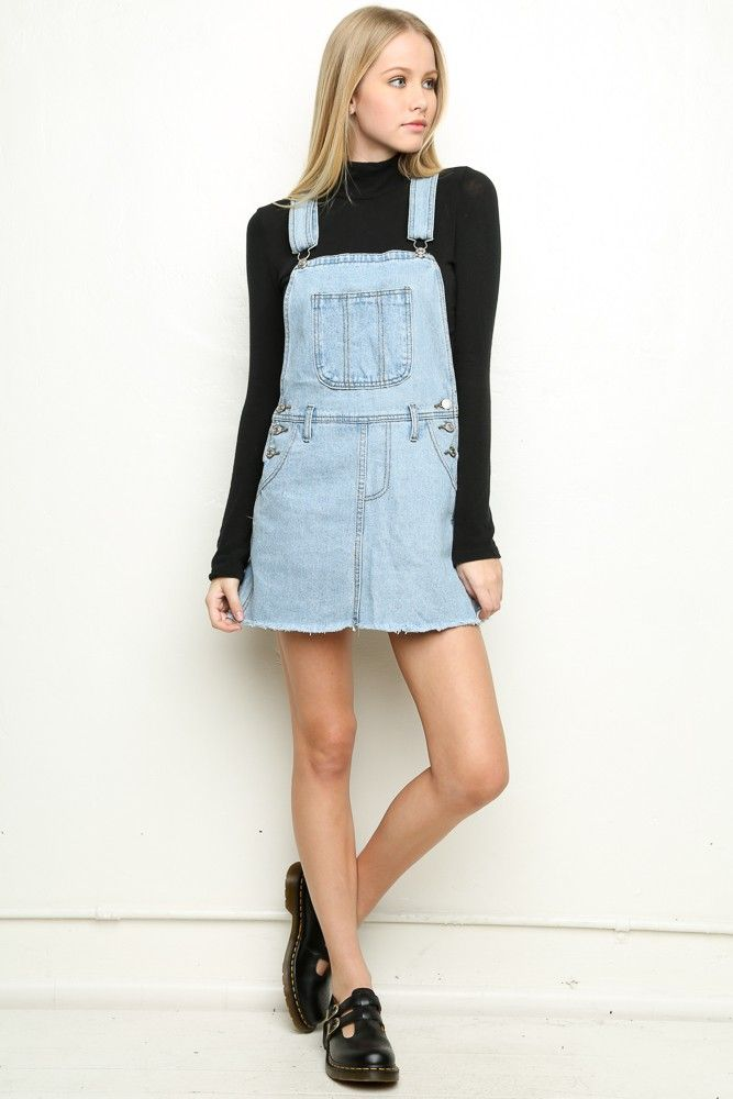 Amazing ASOS TALL Denim Dungaree Dress In Mid Wash Blue
