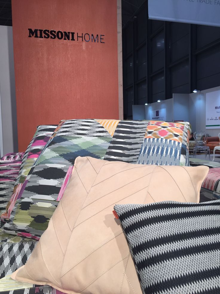Close up on the rich detailing of pillows from the Patch Di Fiammati Collection by MissoniHome. The collection is specially designed to allow for the mixing of bold patterns and subtler neutral tones.