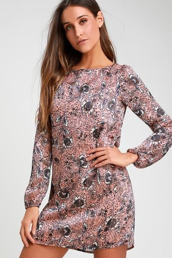 df20bda03a7e Ashford Blush Pink Floral Print Long Sleeve Shift Dress