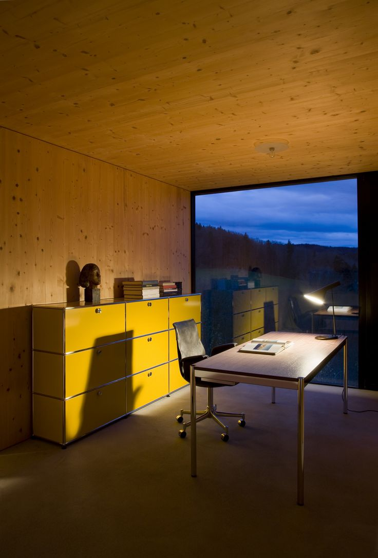 Lights up your home office - USM Haller sideboard in golden yellow. www.usm.com