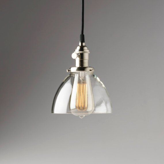 Hanging Light With 6 Clear Glass Dome Shade Pendant Etsy