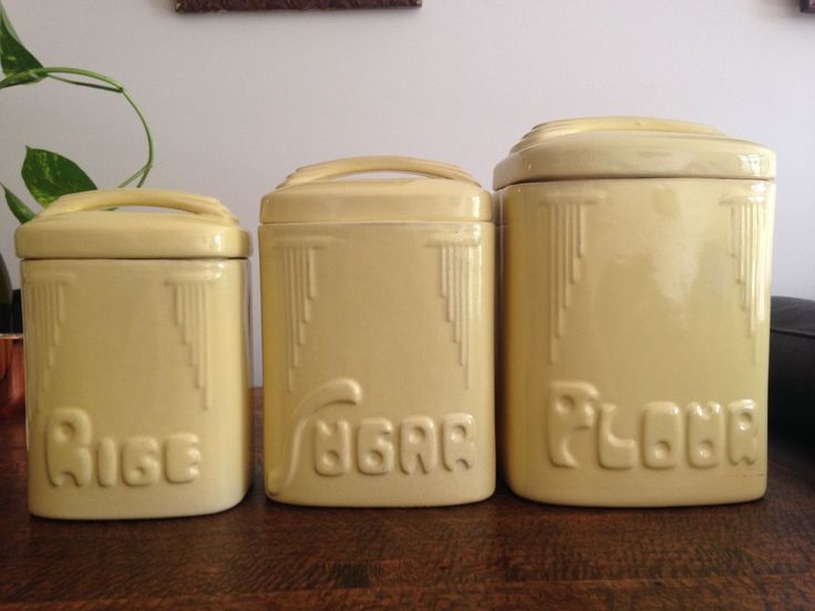 1930's art deco Bakewells 'Beulah Ware' canisters