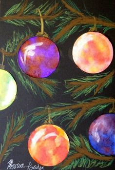 Students used liquid watercolors on diffusing paper circles for a wet on wet technique to bleed analogous colors for their ornaments. They added a liquid watercolor pearl paint for light reflection. While these dried they created their background composition of tree branches using oil pastels. Ornament details were added with a gold Berol Prismacolor pencil. Ornaments were then glued to their backgrounds.