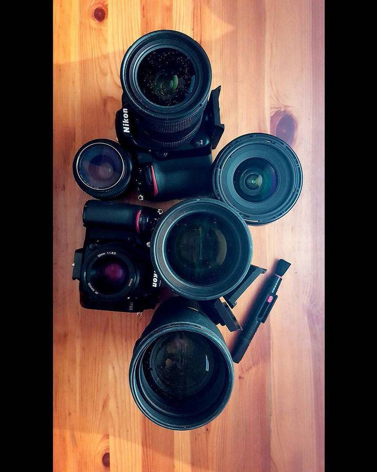 Last check and gear cleaning for tomorrow ! #camera #gear #lens #filmmaking #wedding #nikon #Sigma #tokina #belgium #equipment  #dslr