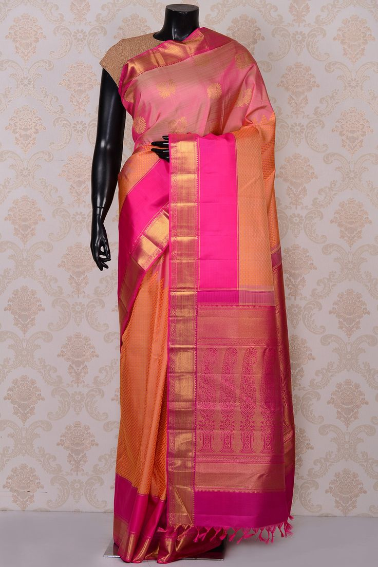 #Pink divine #kanchipuram silk #saree with pink border-SR18641 - #PURE KANCHIPURAM SILK SAREE #Sarees