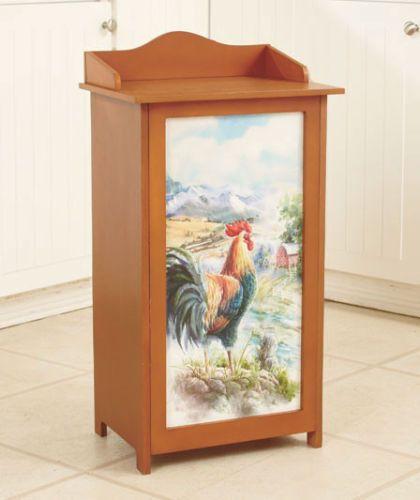 Kitchen Trash Can Garbage Container Decorative Wastebasket Bin Wooden  Rooster.