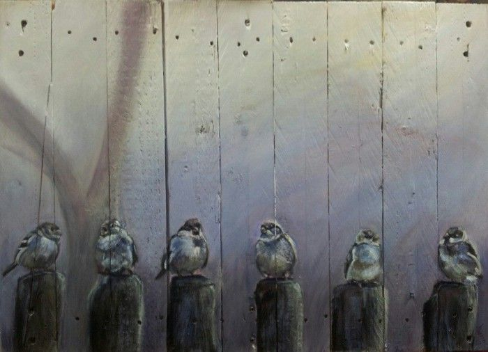"""Pallet schilderij """"Paalzitten"""" 70/50 gemaakt door Yvonne Oosterwijk"""